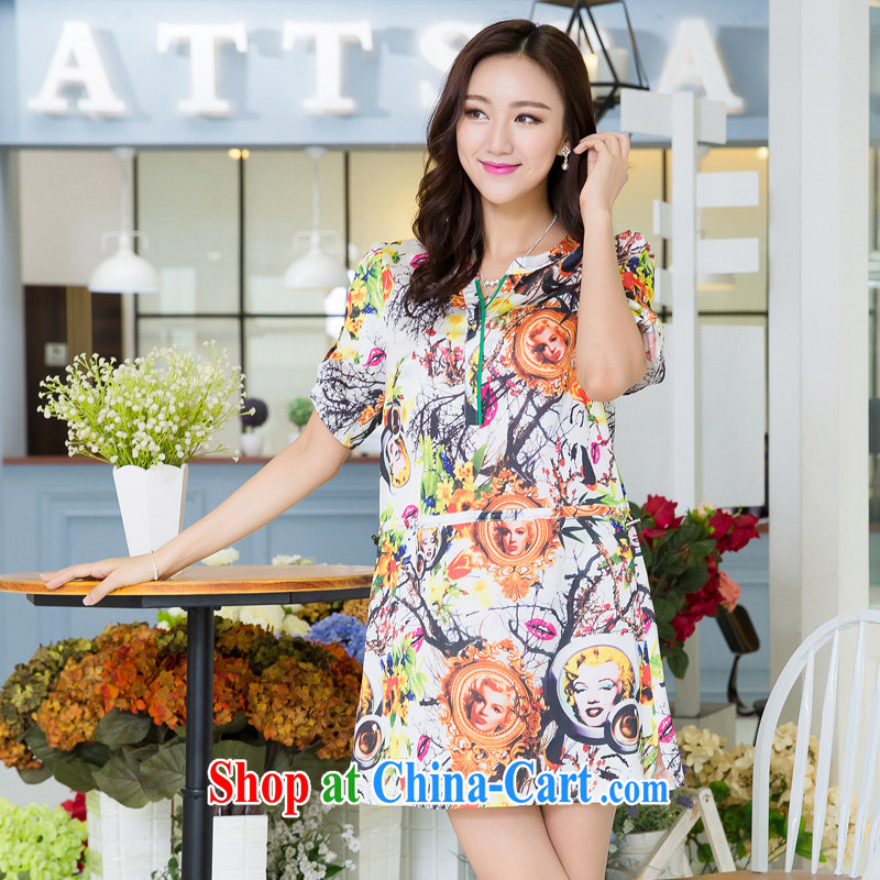 Huan Zhu Ge Ge Ge 2015 the Code women's clothing summer new Korean version is the increased emphasis on MM loose video thin casual stylish stamp short-sleeved dress suit 5506 3 XL, giggling auspicious, shopping on the Internet