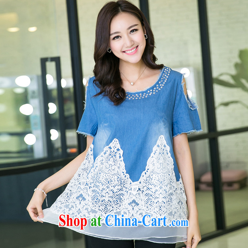 Huan Zhu Ge Ge Ge 2015 and indeed increase, female summer new short-sleeved your shoulders T denim shirt white lace stitching, long T-shirt girls 5502 blue 3 XL, giggling auspicious, shopping on the Internet