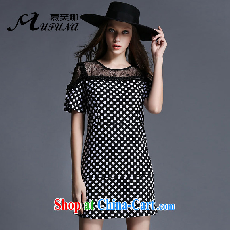 The summing up by 2015, focusing on people's congress, female summer new lace stitching and stylish dot stamp graphics thin short-sleeved round neck dress 1928 black XL