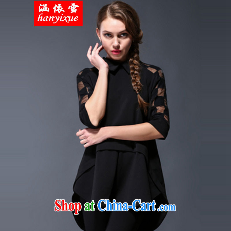 covered by snow in accordance with European and American name Yuan big KING SIZE larger female spring new thick mm loose video thin front short, long before the chest of shirt style clothing black XXXXXL