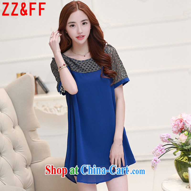 ZZ _FF 2015 summer new, larger female lace stitching cultivating snow woven dresses female LYQ 1258 blue XXXXL
