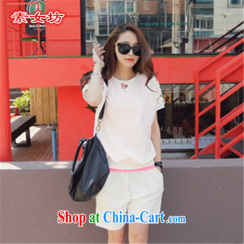 Pixel girl workshop summer 2015 New, and indeed increase, female 200 Jack thick MM stylish beauty graphics thin ice woven shirts leisure 5 pants suite 385 white 4XL recommendations 165 - 185 jack