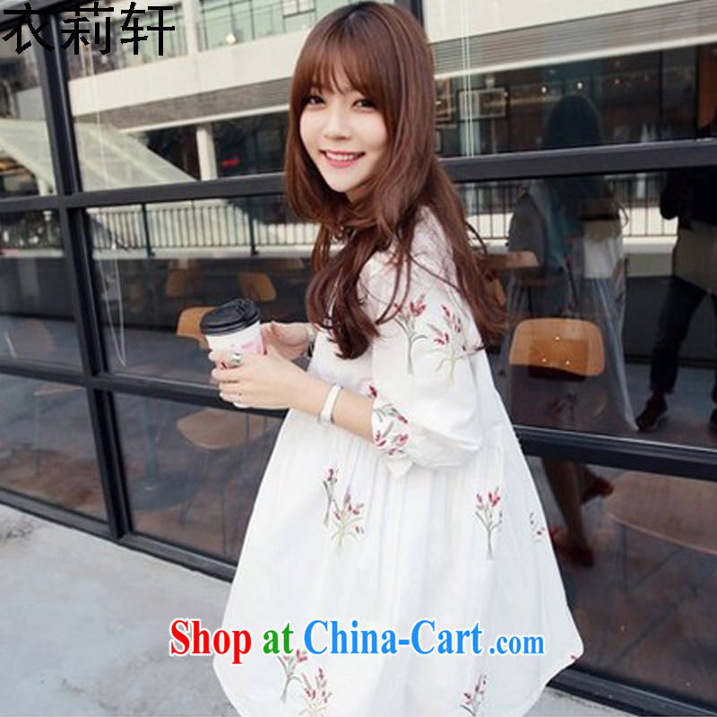 Yi Li Xuan 2015 summer Korean version of the new skirt, very casual College wind 5 cuff the code has been the embroidery dresses women white 3XL