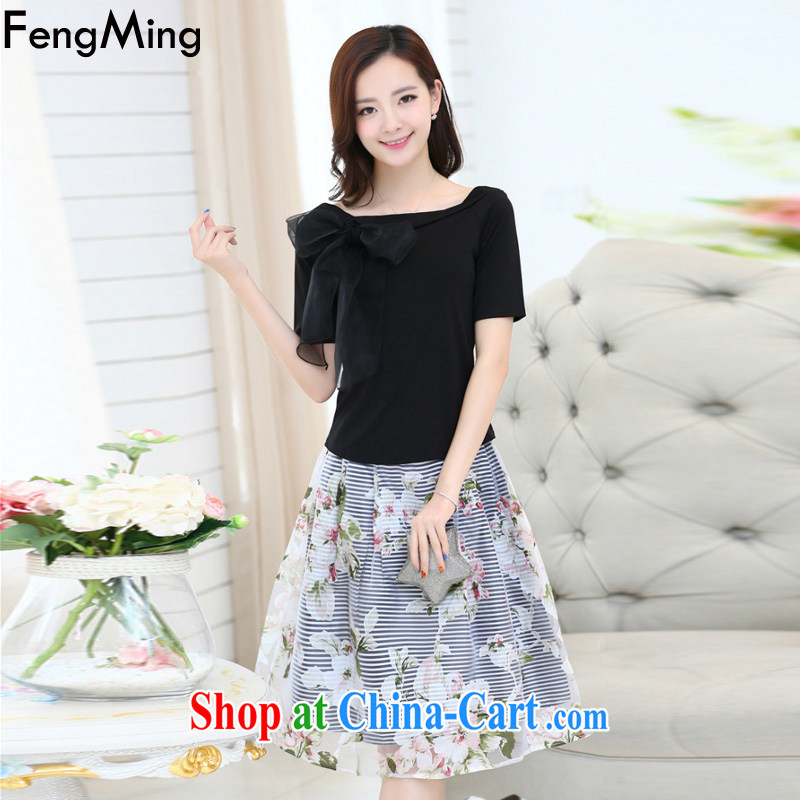 Abundant Ming summer 2015 larger graphics thin a field for stars with bowtie stamp shaggy dress new dress girls black XXL