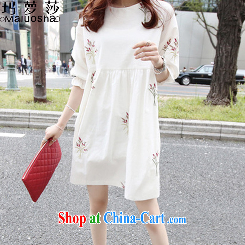 Margaret Elizabeth Kahlo's 2015 summer Korean version of the new skirt, very casual College wind 5 cuff the code has been the embroidery dresses women's clothing white 2XL