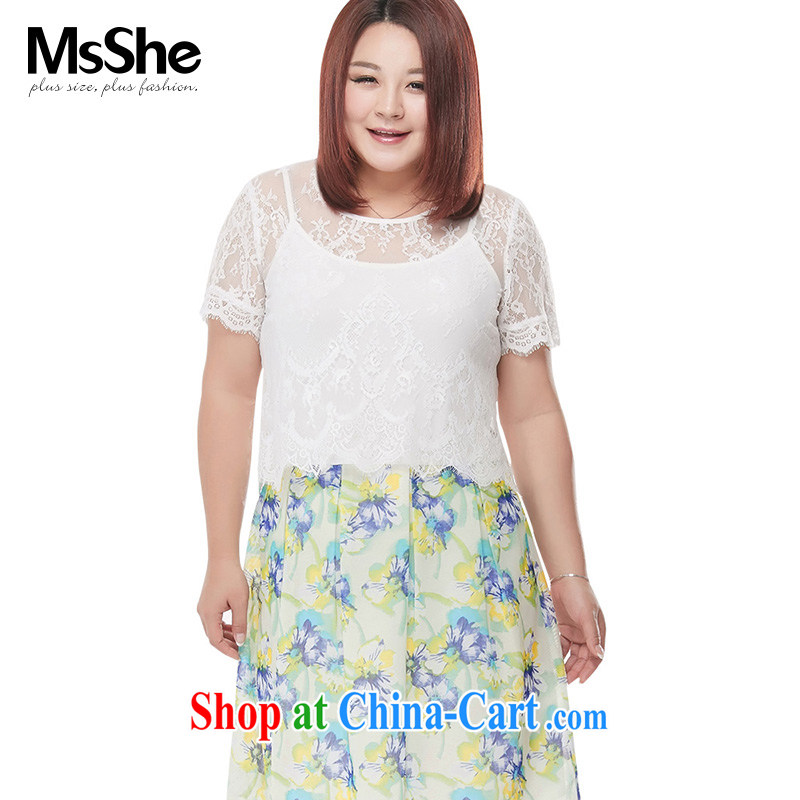 The MsShe indeed XL women 2015 new summer lace stitching stamp two-piece dresses 4298 green 2 XL