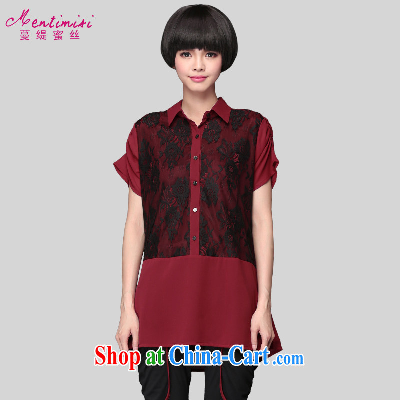 Mephidross economy honey's code female summer 2015 new lace stitching shirt thick MM Korea and indeed XL video thin shirt wine red 4 XL 175 Jack left and right