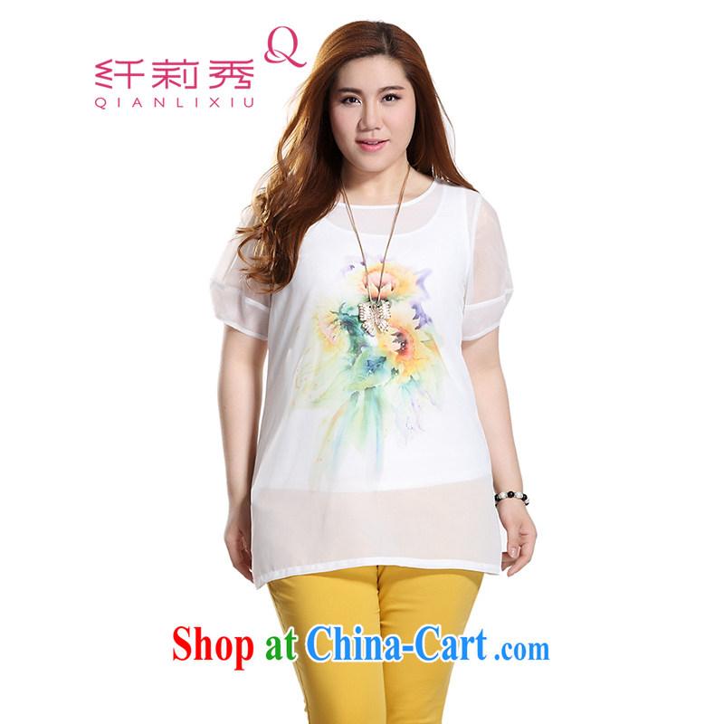 Slim LI Sau 2015 summer new, larger female 3D stamp sleeveless vest T shirt smocks overlap is really two-piece, long T-shirt Q 7976 m White 4 XL
