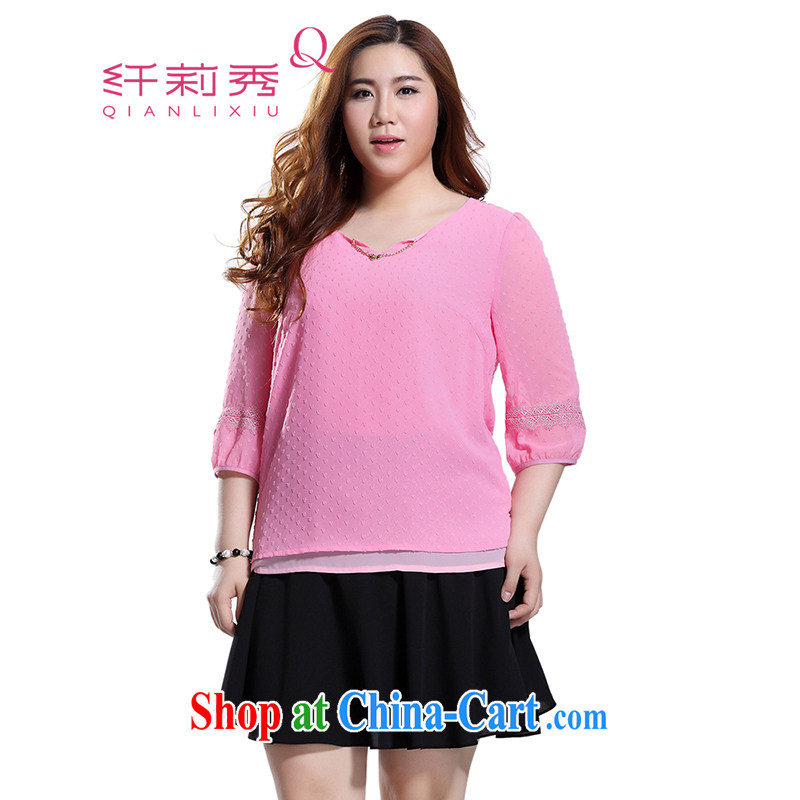 Slim LI Sau 2015 summer new, larger female-V-neck bow-tie with a romantic three-dimensional love point H-graphics thin ice woven shirts Q 8398 pink 5 XL
