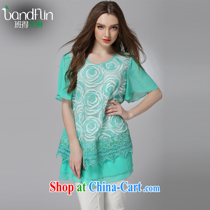 Classes, Evelyn, 2015 summer new 200 Jack thick sister King, female thick mm short-sleeve lace lace snow woven dresses B 1039 green 5 XL