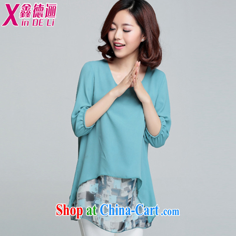 Xin De obligations summer 2015 new thick mm summer leave of two in the long, snow-woven shirts female 7 cuff small shirts stamp T-shirt 048,838 light-blue XXXL