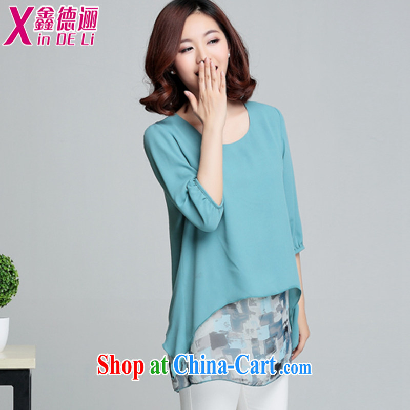 Xin De obligations summer 2015 new thick mm summer leave of two in the long, snow-woven shirts female 7 cuff small shirts stamp T-shirt 048,838 light-blue XXXL, Xin, obligations, and shopping on the Internet