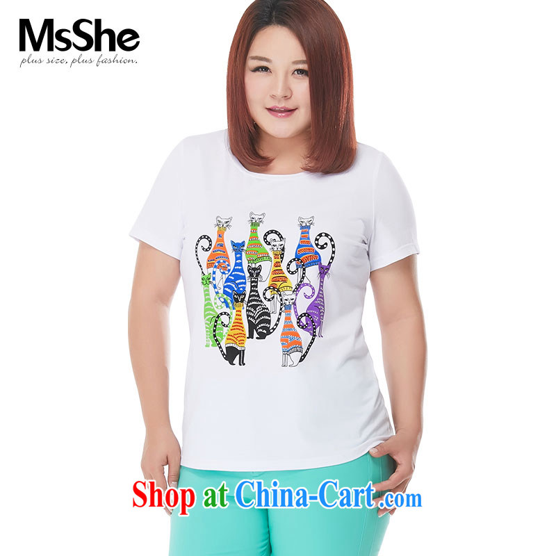 MsShe XL ladies' 2015 new summer wear thick sister stretch cotton stamp short-sleeved beauty T-shirts 4177 white 3XL