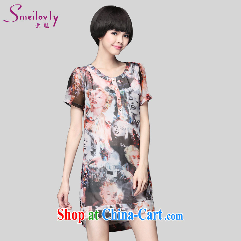 Director of 2015 summer new 200 jack and indeed XL women mm thick short-sleeved stamp snow woven dresses video thin thin 2896 fancy the code XXL 140 Jack left and right