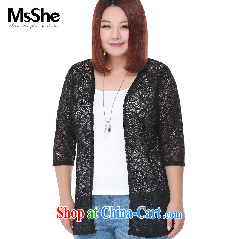 The MSSHE indeed XL women 2015 new summer ground 100 lace stitching knitting cardigan jacket 2981 black 6 XL
