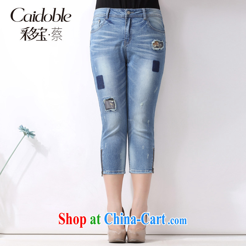 The multi-po 2015 summer new thick MM larger female decoration, graphics skinny pin hole 7 blue jeans pants K 658 blue 32 _June 23, the Department_