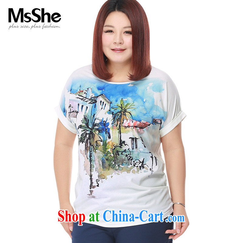 MsShe XL girls 2015 new summer thick sister stretch cotton stitching stamp short-sleeve T-shirt 4105 white 3XL