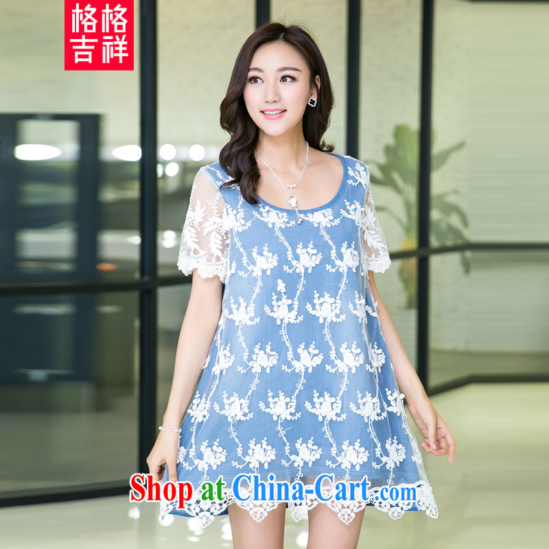Huan Zhu Ge Ge Ge 2015 the code female summer New, and indeed more relaxed graphics thin short-sleeve with lace stitching denim dress X 5501 light blue jeans blue 3 XL
