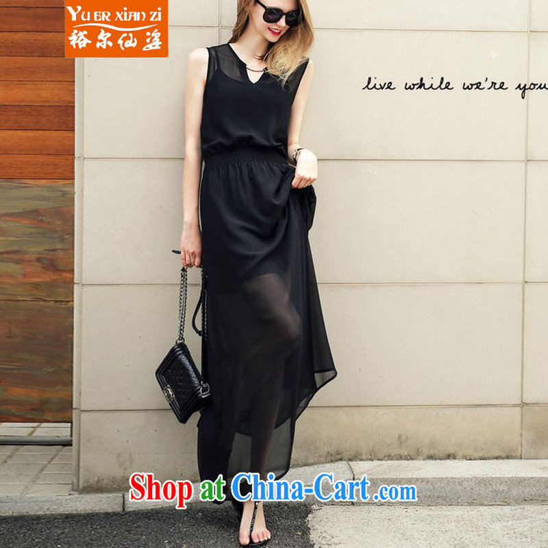Yu, Sin City is the XL female summer, new Snow woven sleeveless dresses mm thick black aura video thin beauty long skirt black 3 XL recommends that you 145 - 165 jack