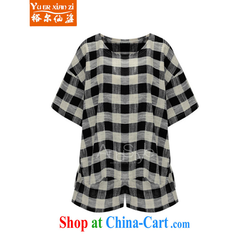 Yu's Sin City King Size Code mm thick European Summer 200 Jack cotton the grid stamp T-shirt shorts lounge two-piece black checkered two-piece 5 XL recommends that you 175 - 200 jack