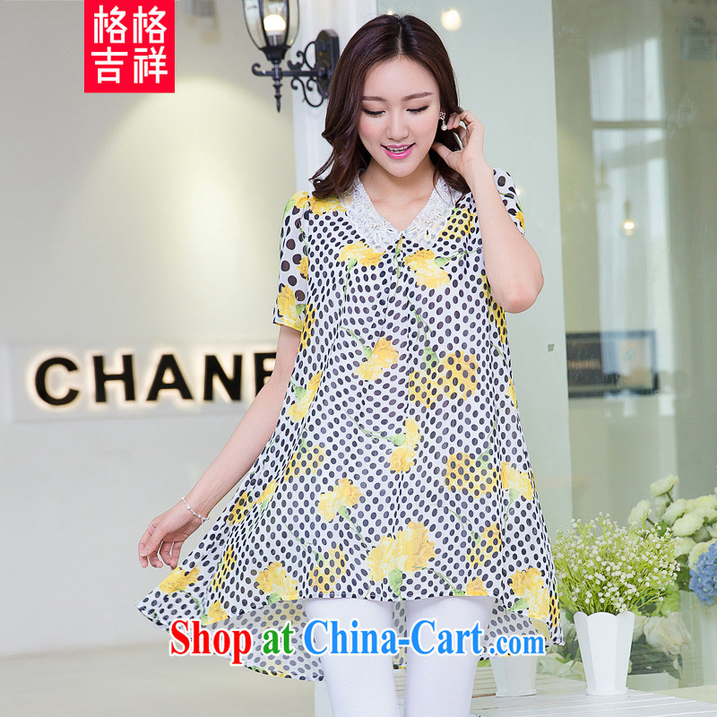Huan Zhu Ge Ge Ge is the XL female 2015 summer new thick mm thick, loose video thin dot stamp short-sleeved snow woven dresses X 5515 yellow 3 XL