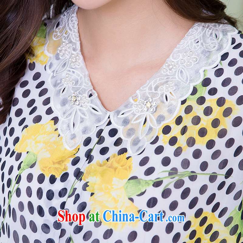 Huan Zhu Ge Ge Ge is indeed the XL female 2015 summer new, thick mm thick, loose video thin dot stamp duty short-sleeved snow-woven dresses X 5515 yellow 3 XL, giggling auspicious, shopping on the Internet