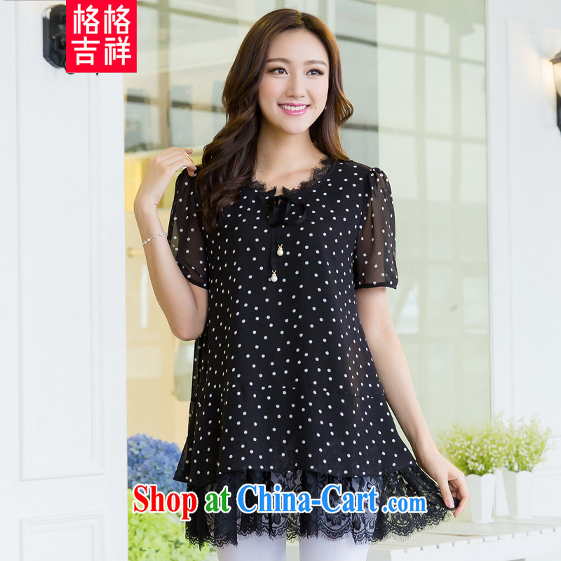 Huan Zhu Ge Ge Ge 2015 and indeed XL female summer new thick mm video thin wave point stamp lace stitching, long T shirts snow woven shirts 5511 black 3 XL _recommendations 165 - 180 jack_