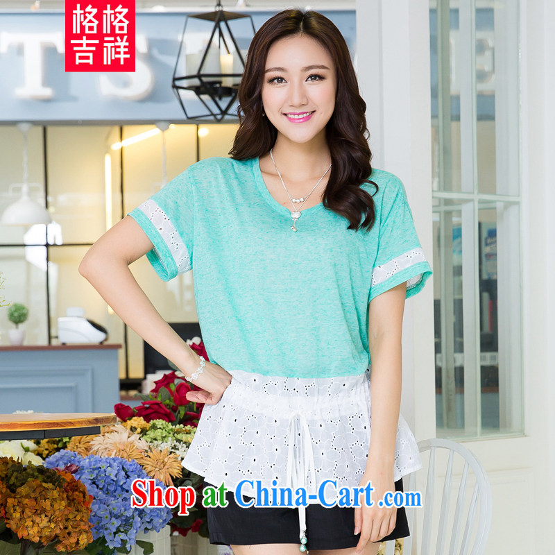 Huan Zhu Ge Ge Ge is indeed the XL female 2015 summer new thick MM-waist graphics thin knocked color stitching leisure short-sleeved T shirts women T-shirt X 5508 light green 3 XL