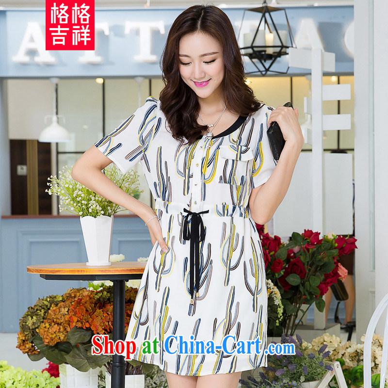 Huan Zhu Ge Ge Ge 2015 and indeed increase, female summer new, mm thick beauty graphics thin drawcord waist-style stamp short-sleeve dress suit 3 XL