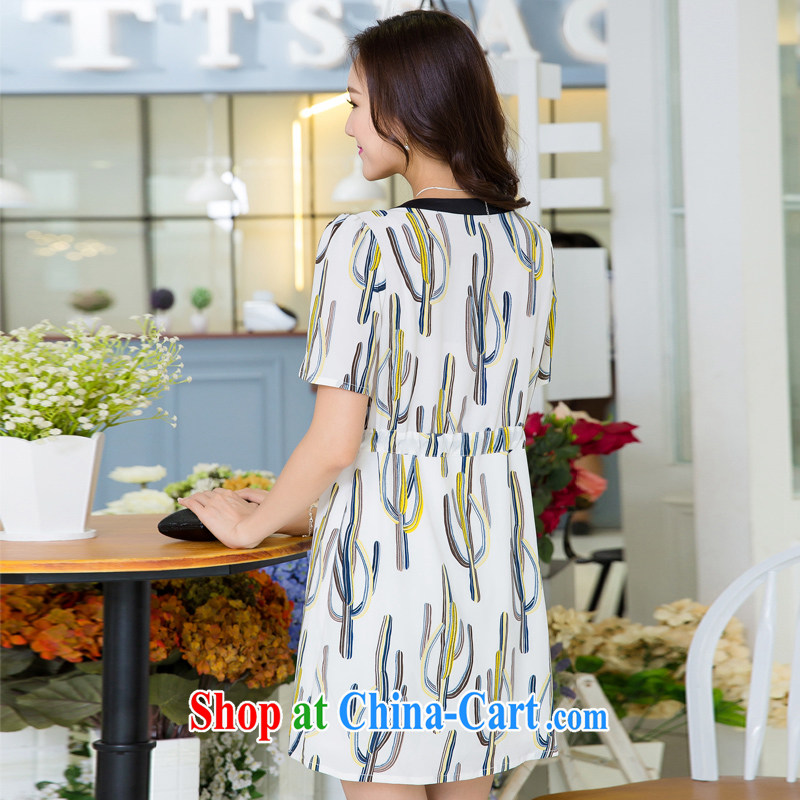 Huan Zhu Ge Ge Ge 2015 and indeed XL female summer new emphasis on cultivating mm video thin drawcord waist-style stamp duty short-sleeved Dress Suit 3 XL, giggling auspicious, shopping on the Internet