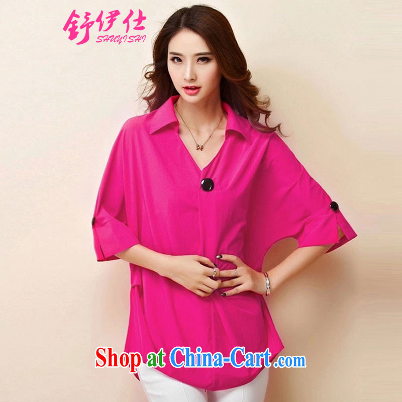 Shu, Shi-European site snow woven shirts ladies summer wear new short-sleeved V collar clothing graphics thin King, ladies and elegant the aging fat mm oversized shirt 200 Jack rose red XXXXL