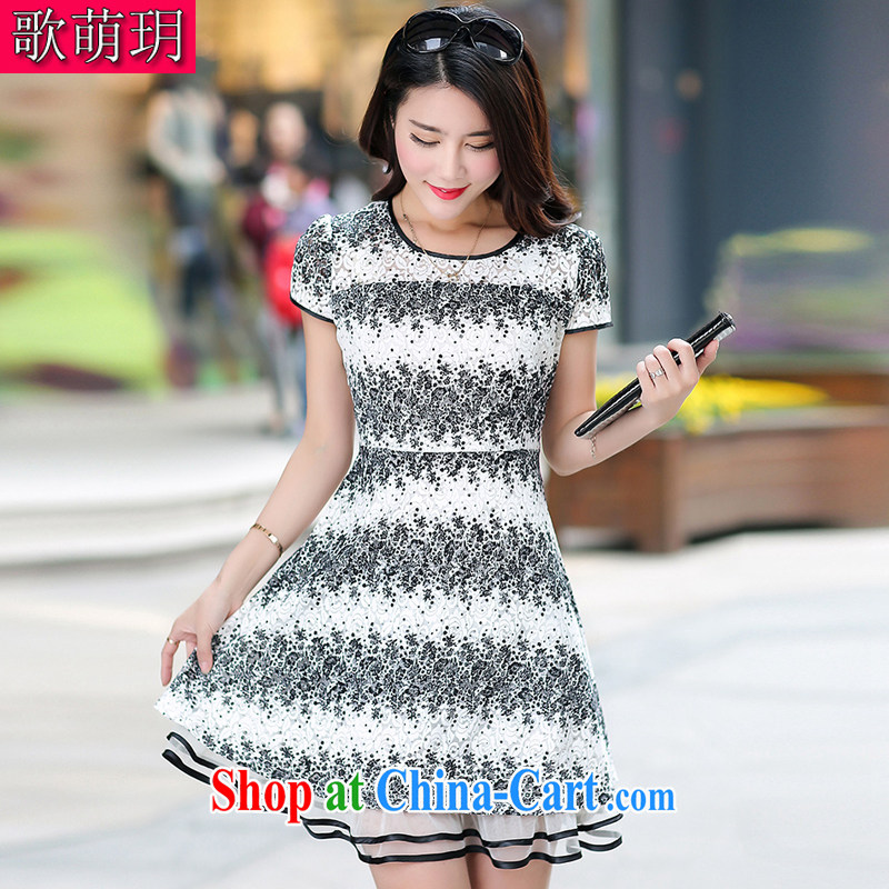 Song Meng Yin Yue XL summer new short-sleeved lace floral stamp large 100 hem dresses G 5858 white 2XL _135 - 150 _ jack