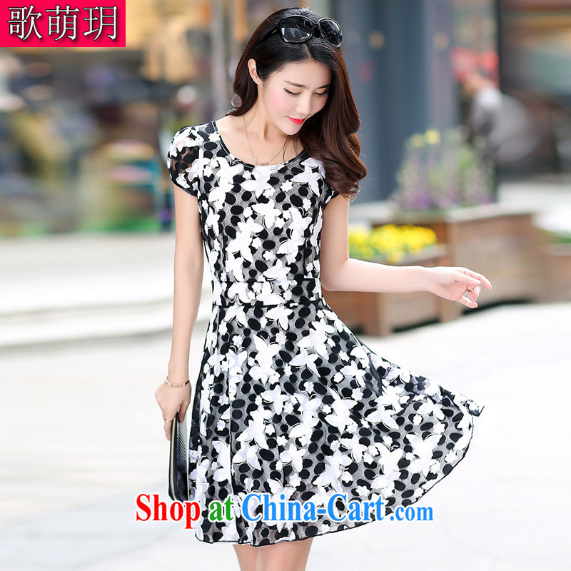Song Meng Yin Yue XL summer new relaxed round-collar short-sleeve large snow woven dresses G 5856 black XL (120 - 135 ) jack