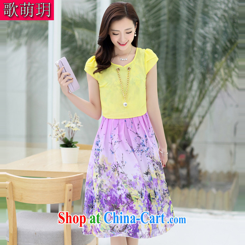 Song Meng Yin Yue XL summer New Beauty stamp large aura silk snow woven dresses AS 0206 yellow 2 XL (135 - 150 ) jack