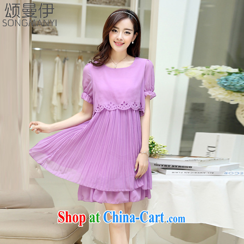 Also, the 2015 summer new Korean version XL loose video thin large Code women snow woven dresses 9121 purple XXXXXL