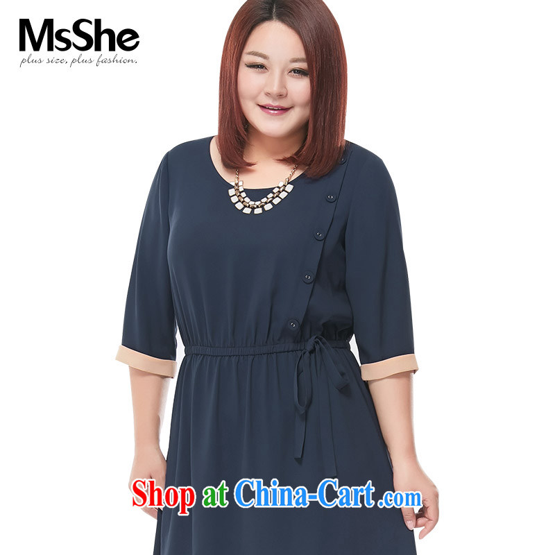 The MsShe indeed XL women 2015 new Summer Snow stretch woven round-collar hit color Edge dress 4735 blue 3 XL