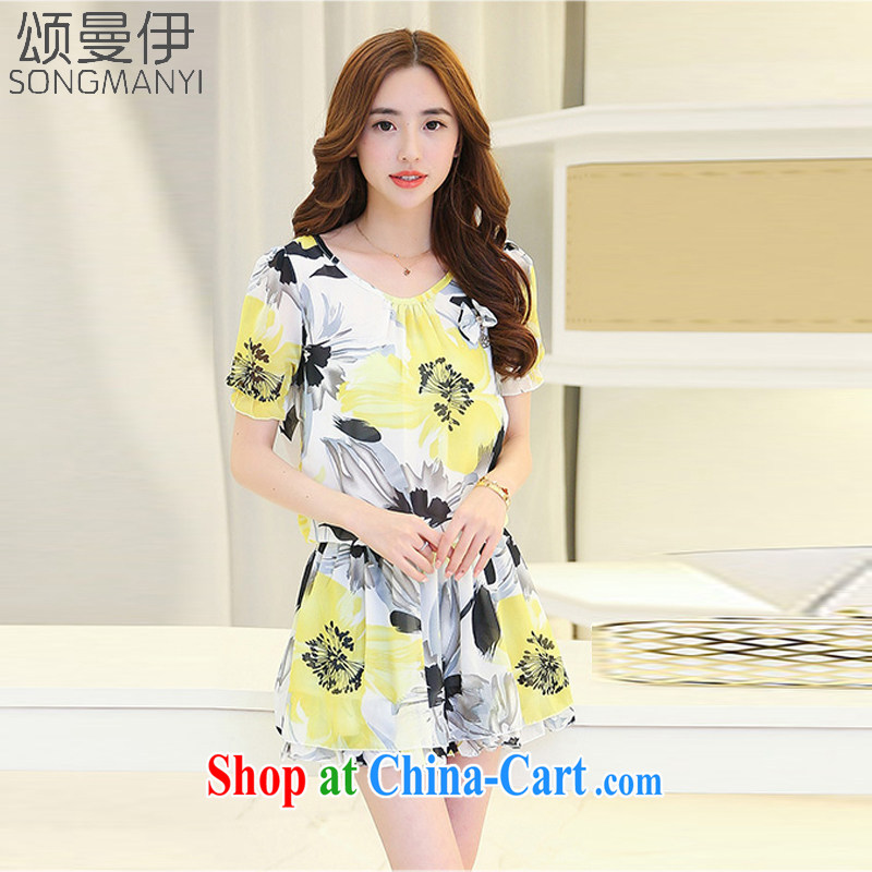 Also, the 2015 summer new, larger female Korean mm thick belly mask graphics thin ice woven dresses 512 yellow XXXL