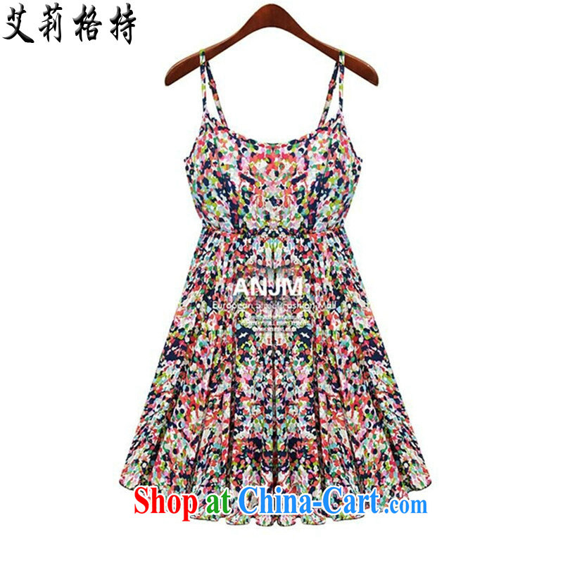Allie, The 2015 ad and indeed increase, female 200 Jack summer graphics thin straps dress thick sister large floral skirt SJL 2873 dot floral XXXXXL