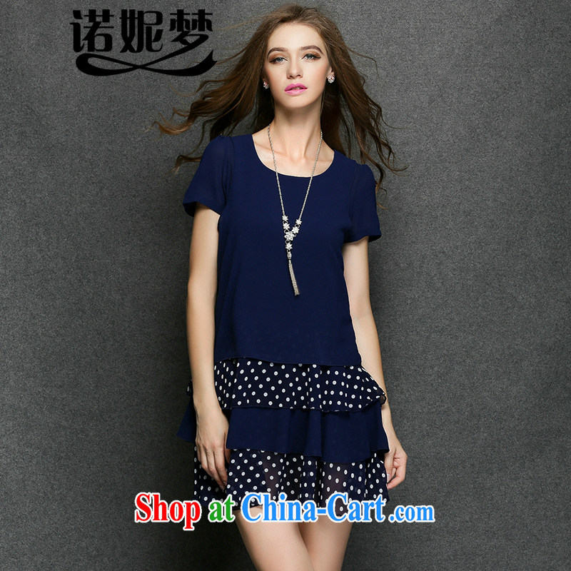 Connie's dream in Europe and America, the female summer 2015 new, thick mm stylish wave point cultivating graphics thin short-sleeve snow woven dresses Y 3401 blue XXXXL