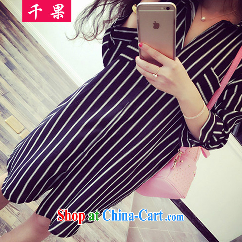 1000 fruit and fat XL women mm thick summer in 2015 long Graphics thin ice woven shirts 200 Jack thick sister stripes shirt 0840 black 5 XL