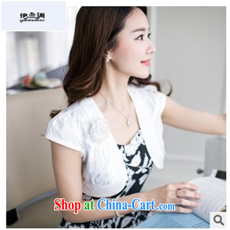 9 months female _ 2015 summer new women shoulder the Korean version cultivating small shawl on short-sleeved small jacket FZL 5091 white M