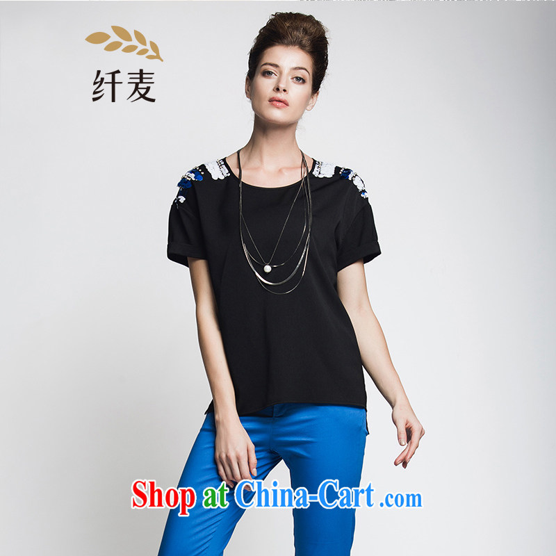Former Yugoslavia, Mr Big, female 2015 summer new thick mm stylish shoulder, short-sleeved shirt T 952153947 black 5 XL