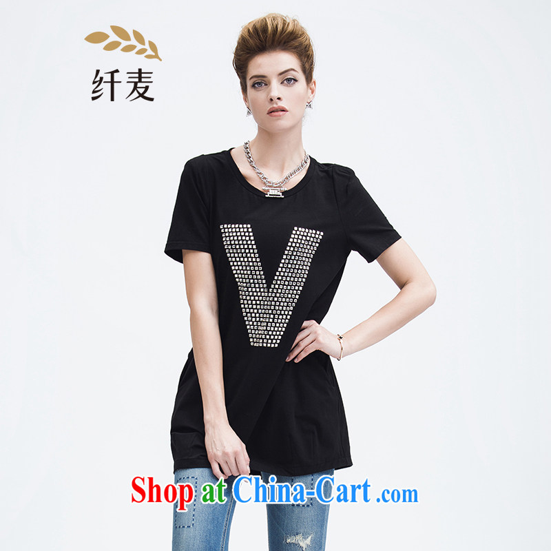Former Yugoslavia, Mr Big, female 2015 summer new thick mm stylish letter hot drill in long T pension 952153962 black 2 XL
