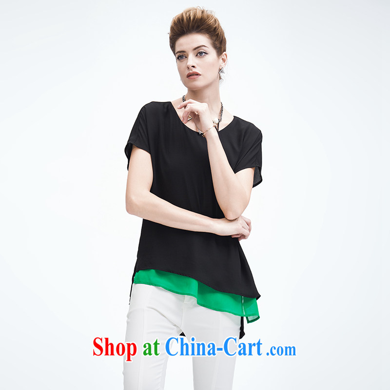 The Mak is the female 2015 summer new, mm thick, with no rules snow woven short sleeve shirt T female 952153958 black 4XL