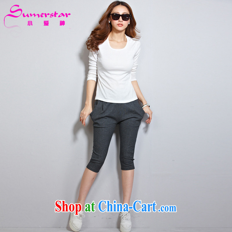 The God of love King, female fat mm summer Korean relaxed, trouser press and indeed increase female pants casual pants 7 pants gray XXXXL