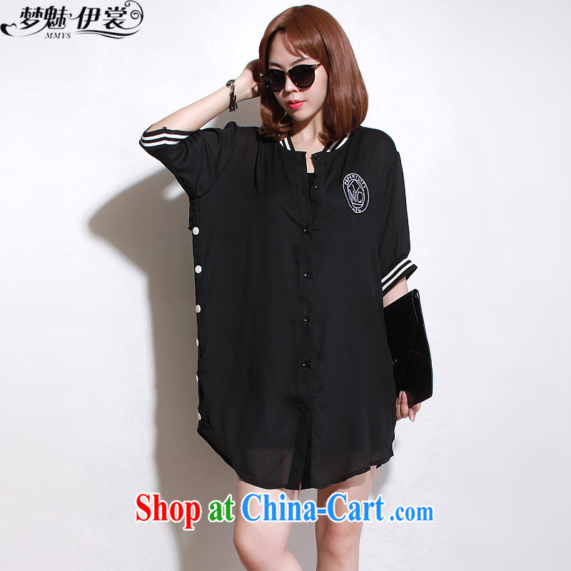 Made the Advisory Committee summer wear loose video thin and thick XL women mm thick, long, short-sleeved snow woven shirts shirt-skirt Black _single layer_ loose all code