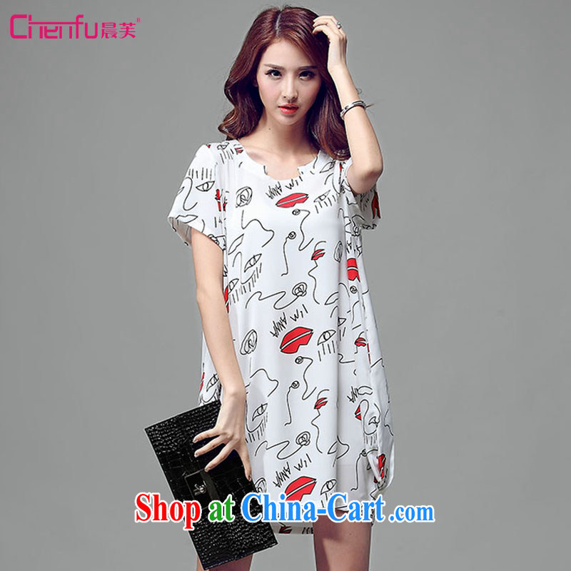Morning would be 2015 and indeed increase, female summer new Korean Style Fashion stamp lantern dress mm thick loose video thin knocked color stamp skirt white 3XL