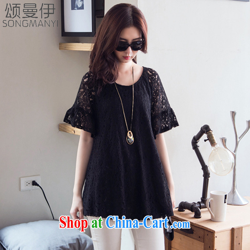 Also, the 2015 summer new, larger female T-shirt with short sleeves shirt T girl relaxed thick mm video thin lace T-shirt 8579 black XXXXXL
