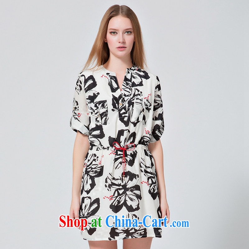 EKDI_clothing and express the code female V for black-and-white printing thick MM the waist graphics thin 5 cuff style dresses the color XL