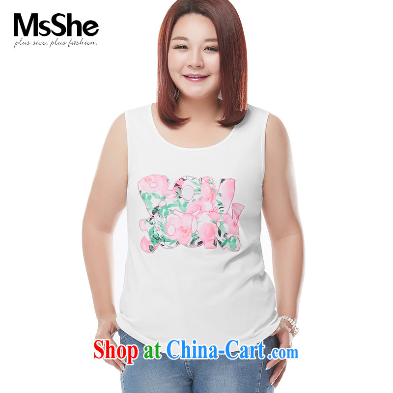MsShe XL girls 2015 new summer thick MM stamp duty round-collar, generation, cotton vest T-shirts pre-sale 4441 white XL - pre-sale on 30 June to the